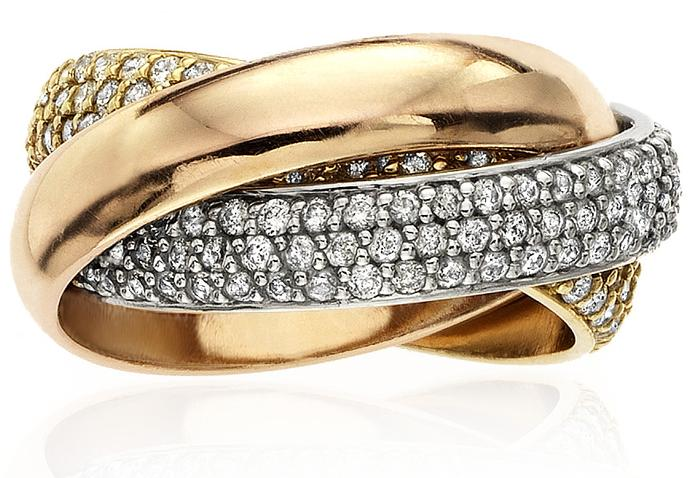 TWO DIAMOND INTERLINKED BANDS WITH ONE PLAIN GOLD
