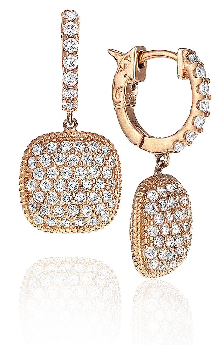 View CUSHION SHAPE MICRO PAVE EARRING