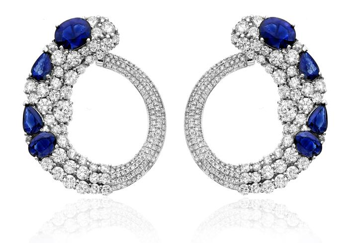 View DIAMOND AND SAPPHIRE EARRINGS